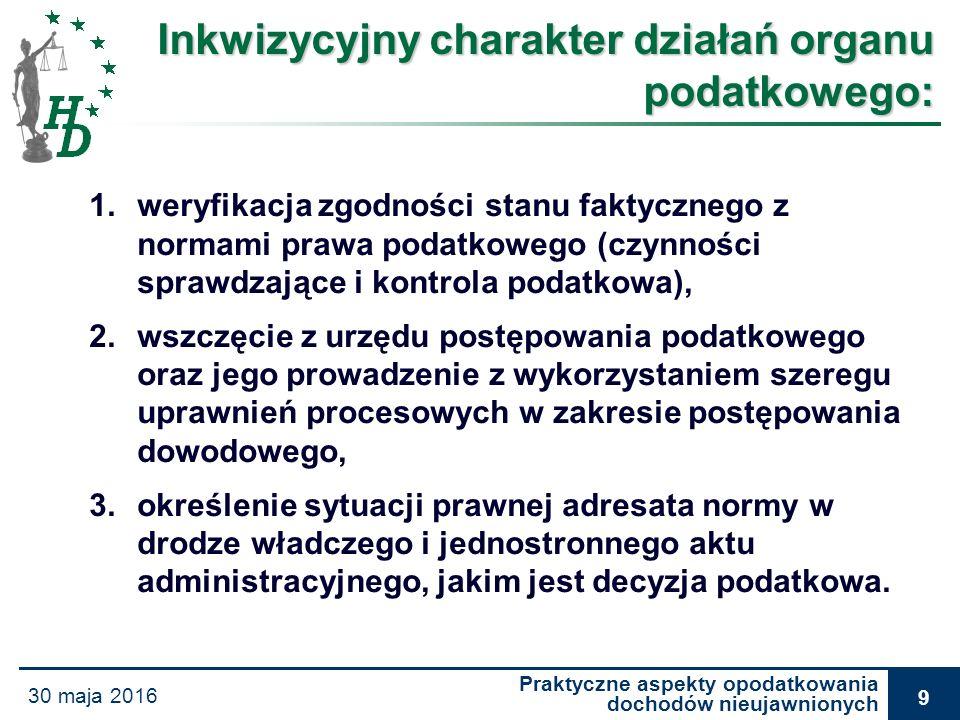 Praktyczne aspekty opodatkowania dochodów nieujawnionych 30 maja 2016 30 Wyrok WSA w Warszawie z dnia 30 maja 2007 r., VIII SA/Wa 146/07 Wykładni przepisów wprowadzających wyjątki od określonych zasad, należy dokonywać w sposób ścisły.