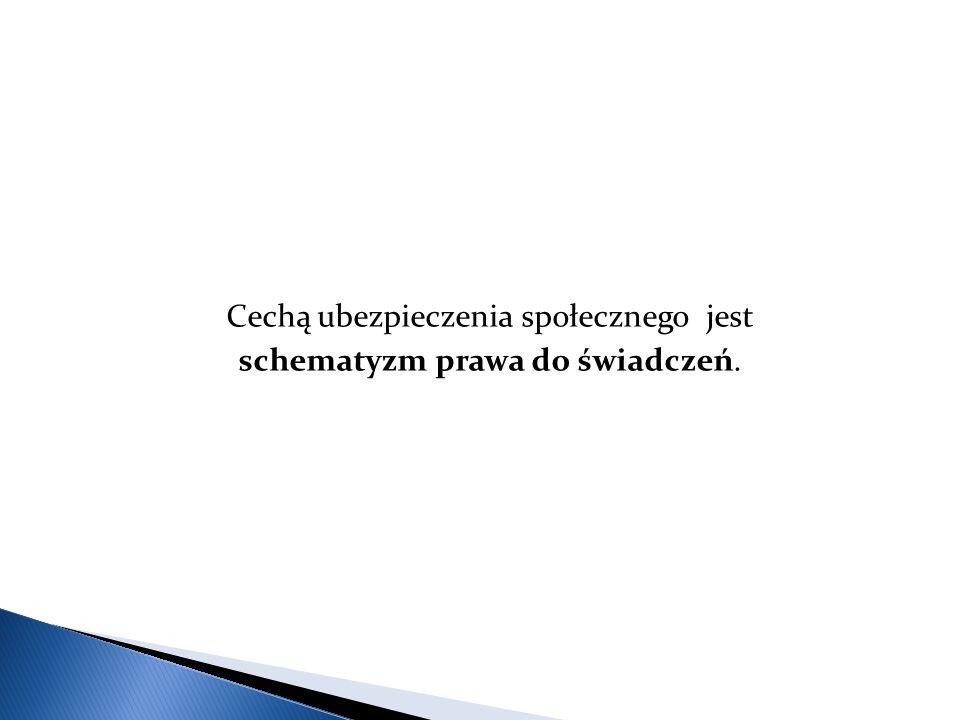 Cechą ubezpieczenia społecznego jest schematyzm prawa do świadczeń.