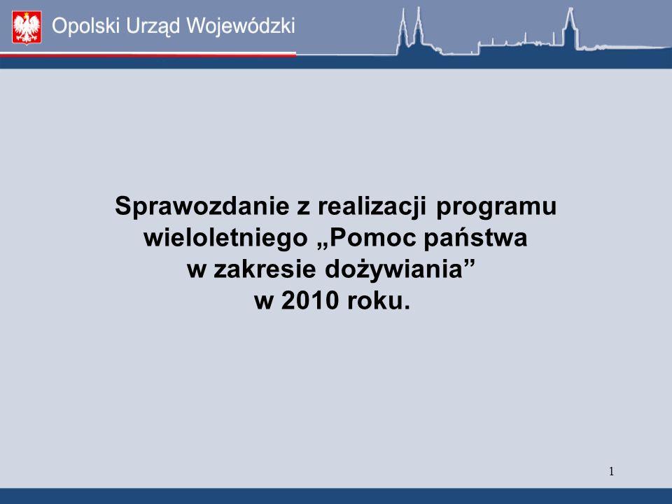 """2 POMOC PAŃSTWA W ZAKRESIE DOŻYWIANIA - STAN PRAWNY Program wieloletni """"Pomoc państwa w zakresie dożywiania został uchwalony przez Sejm ustawą z dnia 29 grudnia 2005 r."""