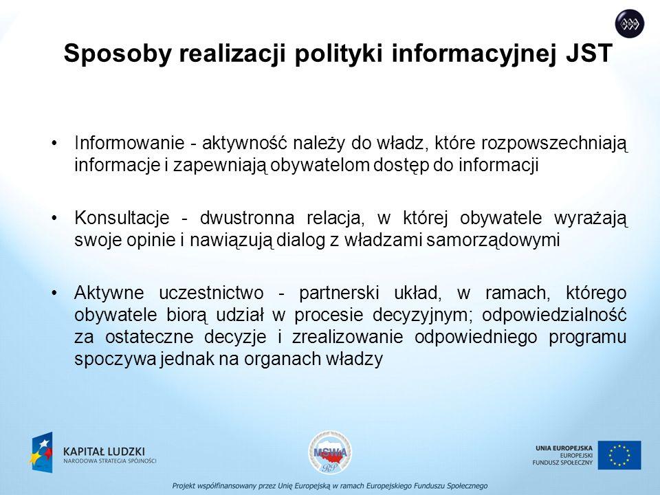 Sposoby realizacji polityki informacyjnej JST Informowanie - aktywność należy do władz, które rozpowszechniają informacje i zapewniają obywatelom dostęp do informacji Konsultacje - dwustronna relacja, w której obywatele wyrażają swoje opinie i nawiązują dialog z władzami samorządowymi Aktywne uczestnictwo - partnerski układ, w ramach, którego obywatele biorą udział w procesie decyzyjnym; odpowiedzialność za ostateczne decyzje i zrealizowanie odpowiedniego programu spoczywa jednak na organach władzy