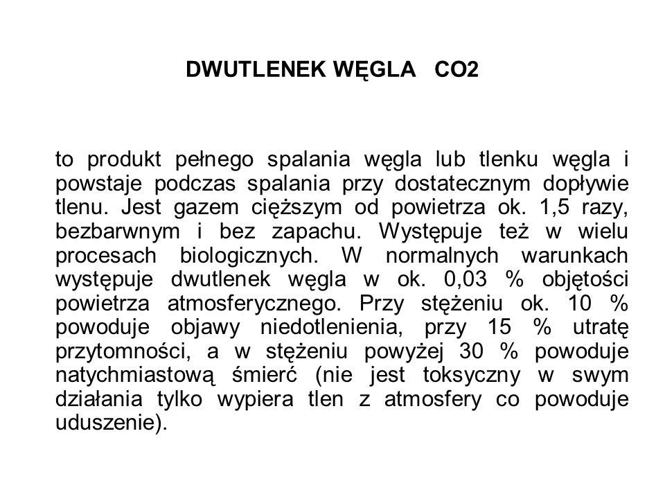 DWUTLENEK WĘGLA CO2 to produkt pełnego spalania węgla lub tlenku węgla i powstaje podczas spalania przy dostatecznym dopływie tlenu. Jest gazem cięższ