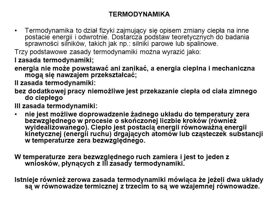 TERMODYNAMIKA Termodynamika to dział fizyki zajmujący się opisem zmiany ciepła na inne postacie energii i odwrotnie.