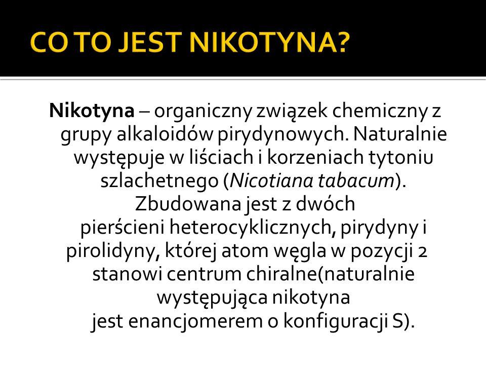 Nikotyna – organiczny związek chemiczny z grupy alkaloidów pirydynowych. Naturalnie występuje w liściach i korzeniach tytoniu szlachetnego (Nicotiana