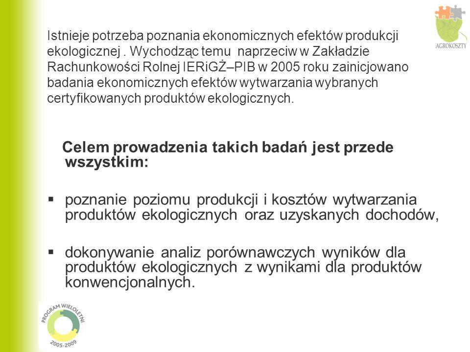 Badanie produktów ekologicznych w systemie AGROKOSZTY w 2005 roku dotyczyło następujących działalności:  żyto ozime,  pszenica ozima,  ziemniaki jadalne,  truskawki w uprawie polowej.