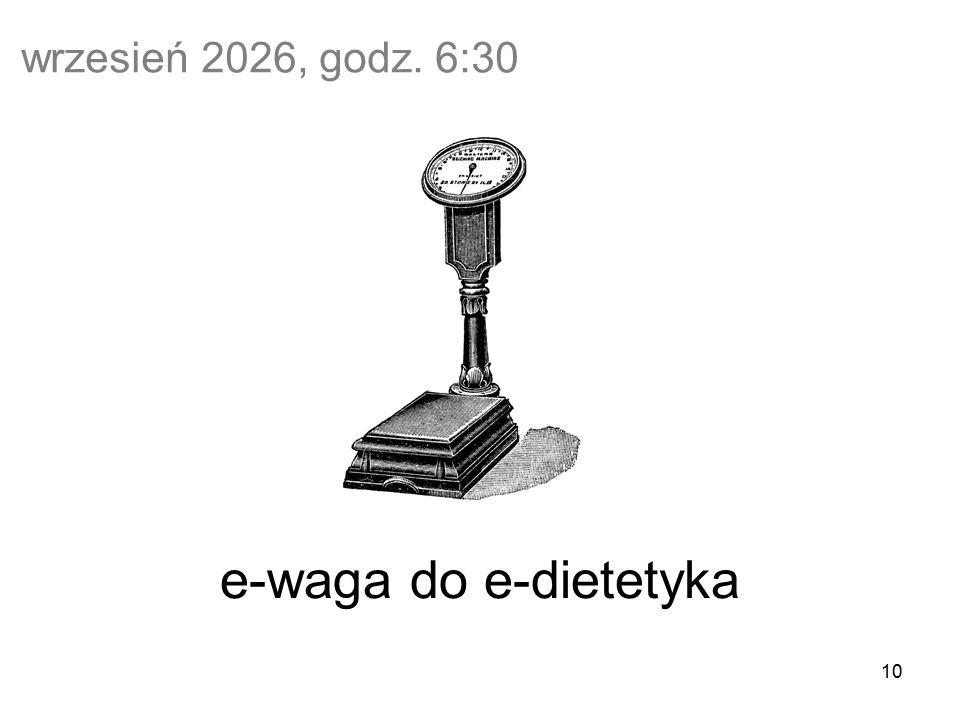 10 wrzesień 2026, godz. 6:30 e-waga do e-dietetyka