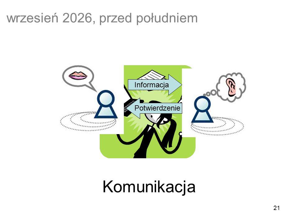 21 Komunikacja wrzesień 2026, przed południem Informacja Potwierdzenie