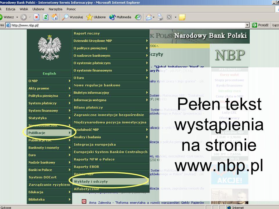 44 Pełen tekst wystąpienia na stronie www.nbp.pl