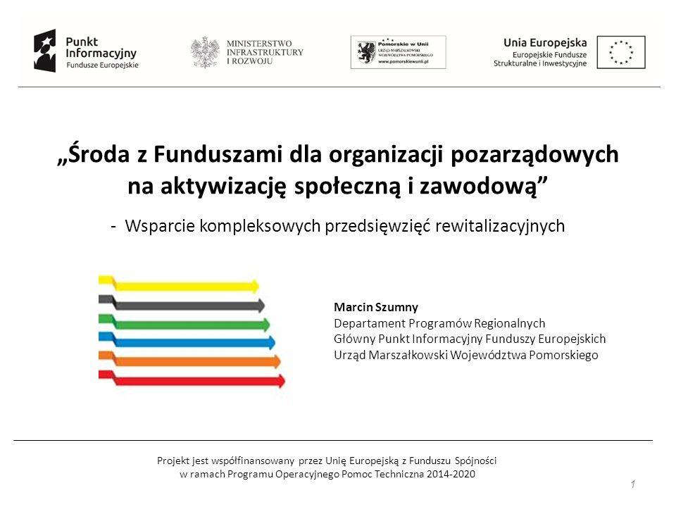"""Projekt jest współfinansowany przez Unię Europejską z Funduszu Spójności w ramach Programu Operacyjnego Pomoc Techniczna 2014-2020 """"Środa z Funduszami"""