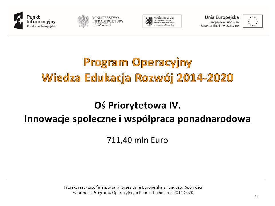 Projekt jest współfinansowany przez Unię Europejską z Funduszu Spójności w ramach Programu Operacyjnego Pomoc Techniczna 2014-2020 17 Oś Priorytetowa IV.