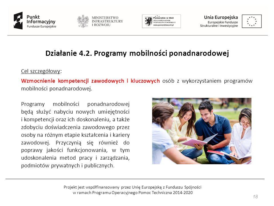 Projekt jest współfinansowany przez Unię Europejską z Funduszu Spójności w ramach Programu Operacyjnego Pomoc Techniczna 2014-2020 18 Działanie 4.2.