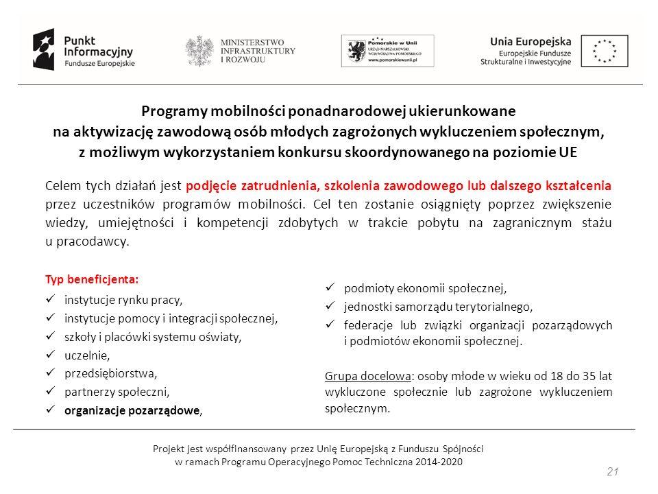 Projekt jest współfinansowany przez Unię Europejską z Funduszu Spójności w ramach Programu Operacyjnego Pomoc Techniczna 2014-2020 21 Programy mobilności ponadnarodowej ukierunkowane na aktywizację zawodową osób młodych zagrożonych wykluczeniem społecznym, z możliwym wykorzystaniem konkursu skoordynowanego na poziomie UE Celem tych działań jest podjęcie zatrudnienia, szkolenia zawodowego lub dalszego kształcenia przez uczestników programów mobilności.