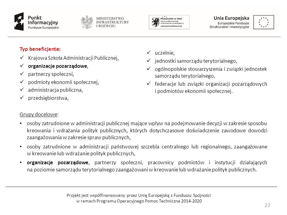 Projekt jest współfinansowany przez Unię Europejską z Funduszu Spójności w ramach Programu Operacyjnego Pomoc Techniczna 2014-2020 23 Grupy docelowe: osoby zatrudnione w administracji publicznej mające wpływ na podejmowanie decyzji w zakresie sposobu kreowania i wdrażania polityk publicznych, których dotychczasowe doświadczenie zawodowe dowodzi zaangażowania w zakresie spraw publicznych, osoby zatrudnione w administracji państwowej szczebla centralnego lub regionalnego, zaangażowane w kreowanie lub wdrażanie polityk publicznych, organizacje pozarządowe, partnerzy społeczni, pracownicy podmiotów i instytucji działających na poziomie samorządu terytorialnego zaangażowani w kreowanie lub wdrażanie polityk publicznych.