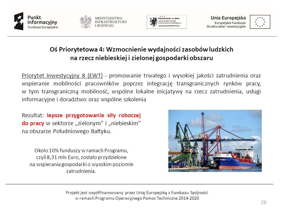 """Projekt jest współfinansowany przez Unię Europejską z Funduszu Spójności w ramach Programu Operacyjnego Pomoc Techniczna 2014-2020 29 Oś Priorytetowa 4: Wzmocnienie wydajności zasobów ludzkich na rzecz niebieskiej i zielonej gospodarki obszaru Priorytet Inwestycyjny 8 (EWT) - promowanie trwałego i wysokiej jakości zatrudnienia oraz wspieranie mobilności pracowników poprzez integrację transgranicznych rynków pracy, w tym transgraniczną mobilność, wspólne lokalne inicjatywy na rzecz zatrudnienia, usługi informacyjne i doradztwo oraz wspólne szkolenia Rezultat: lepsze przygotowanie siły roboczej do pracy w sektorze """"zielonym i """"niebieskim na obszarze Południowego Bałtyku."""