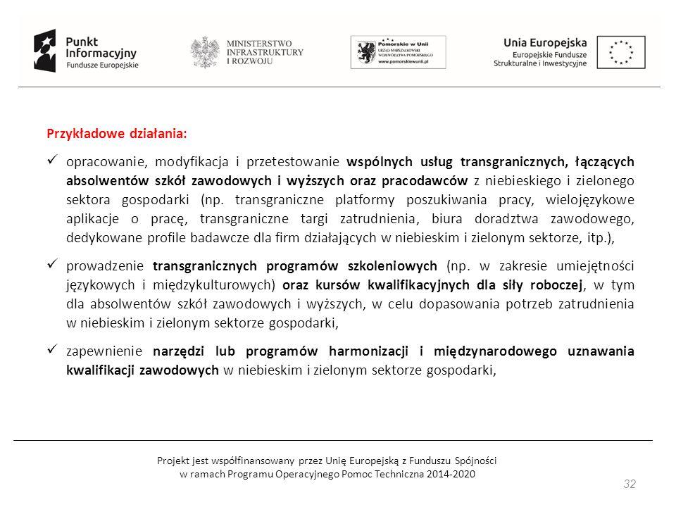 Projekt jest współfinansowany przez Unię Europejską z Funduszu Spójności w ramach Programu Operacyjnego Pomoc Techniczna 2014-2020 32 Przykładowe dzia