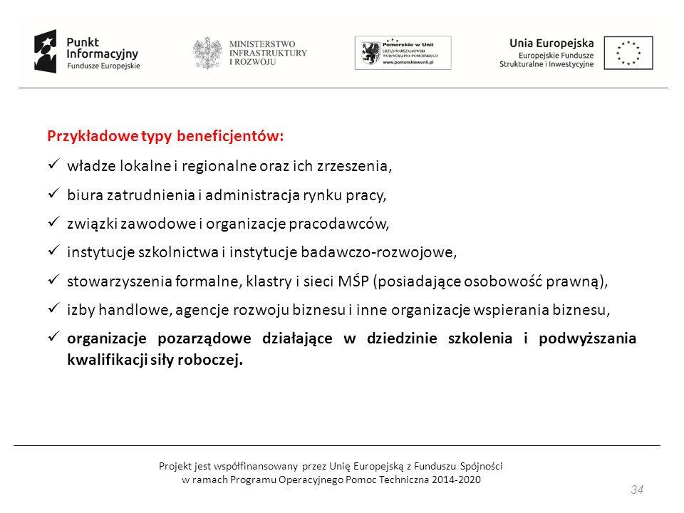 Projekt jest współfinansowany przez Unię Europejską z Funduszu Spójności w ramach Programu Operacyjnego Pomoc Techniczna 2014-2020 34 Przykładowe typy beneficjentów: władze lokalne i regionalne oraz ich zrzeszenia, biura zatrudnienia i administracja rynku pracy, związki zawodowe i organizacje pracodawców, instytucje szkolnictwa i instytucje badawczo-rozwojowe, stowarzyszenia formalne, klastry i sieci MŚP (posiadające osobowość prawną), izby handlowe, agencje rozwoju biznesu i inne organizacje wspierania biznesu, organizacje pozarządowe działające w dziedzinie szkolenia i podwyższania kwalifikacji siły roboczej.