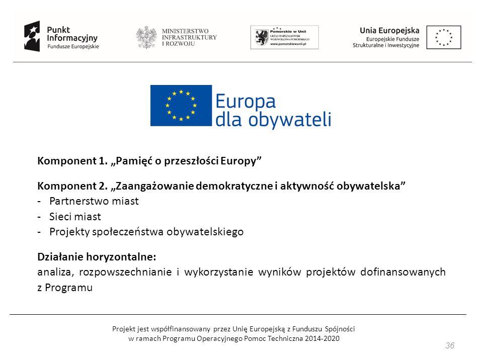 Projekt jest współfinansowany przez Unię Europejską z Funduszu Spójności w ramach Programu Operacyjnego Pomoc Techniczna 2014-2020 36 Komponent 1.