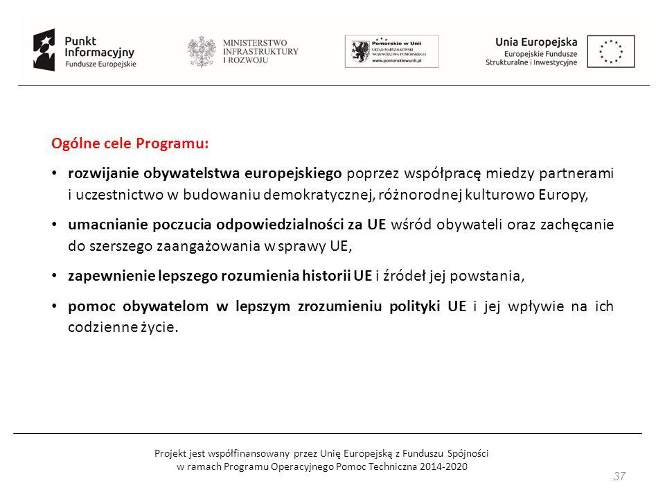 Projekt jest współfinansowany przez Unię Europejską z Funduszu Spójności w ramach Programu Operacyjnego Pomoc Techniczna 2014-2020 37 Ogólne cele Programu: rozwijanie obywatelstwa europejskiego poprzez współpracę miedzy partnerami i uczestnictwo w budowaniu demokratycznej, różnorodnej kulturowo Europy, umacnianie poczucia odpowiedzialności za UE wśród obywateli oraz zachęcanie do szerszego zaangażowania w sprawy UE, zapewnienie lepszego rozumienia historii UE i źródeł jej powstania, pomoc obywatelom w lepszym zrozumieniu polityki UE i jej wpływie na ich codzienne życie.