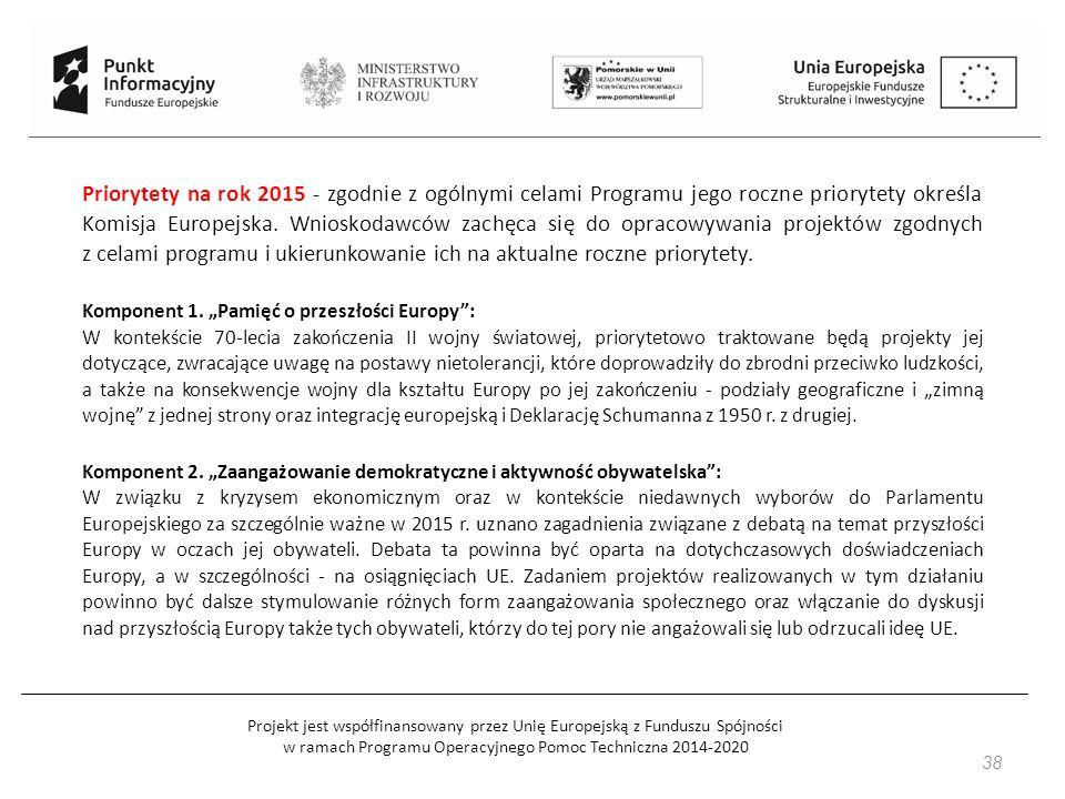 Projekt jest współfinansowany przez Unię Europejską z Funduszu Spójności w ramach Programu Operacyjnego Pomoc Techniczna 2014-2020 38 Priorytety na rok 2015 - zgodnie z ogólnymi celami Programu jego roczne priorytety określa Komisja Europejska.