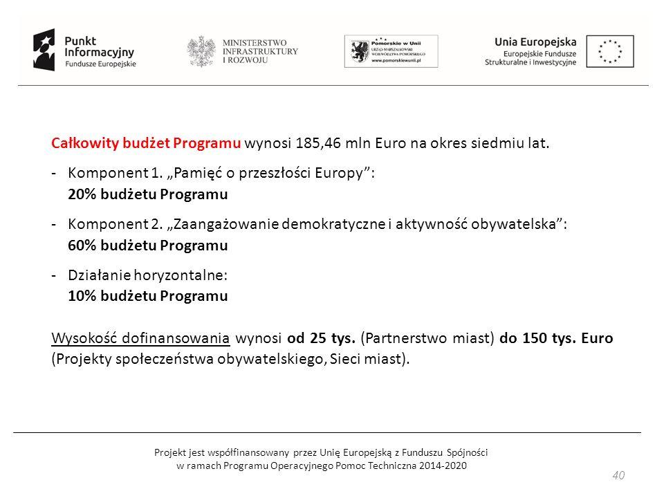 Projekt jest współfinansowany przez Unię Europejską z Funduszu Spójności w ramach Programu Operacyjnego Pomoc Techniczna 2014-2020 40 Całkowity budżet Programu wynosi 185,46 mln Euro na okres siedmiu lat.