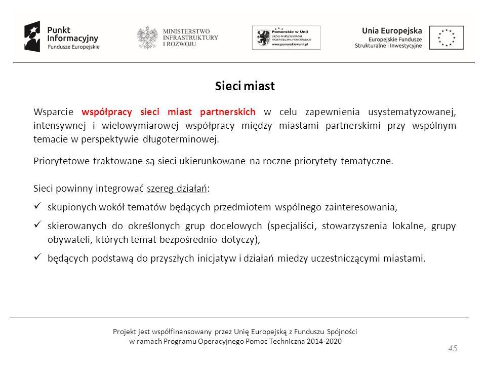 Projekt jest współfinansowany przez Unię Europejską z Funduszu Spójności w ramach Programu Operacyjnego Pomoc Techniczna 2014-2020 45 Sieci miast Wspa
