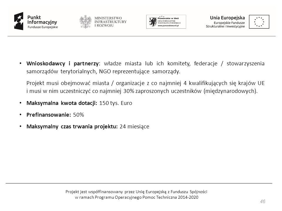 Projekt jest współfinansowany przez Unię Europejską z Funduszu Spójności w ramach Programu Operacyjnego Pomoc Techniczna 2014-2020 46 Wnioskodawcy i partnerzy: władze miasta lub ich komitety, federacje / stowarzyszenia samorządów terytorialnych, NGO reprezentujące samorządy.