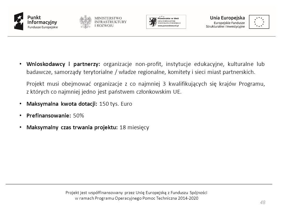 Projekt jest współfinansowany przez Unię Europejską z Funduszu Spójności w ramach Programu Operacyjnego Pomoc Techniczna 2014-2020 48 Wnioskodawcy i partnerzy: organizacje non-profit, instytucje edukacyjne, kulturalne lub badawcze, samorządy terytorialne / władze regionalne, komitety i sieci miast partnerskich.