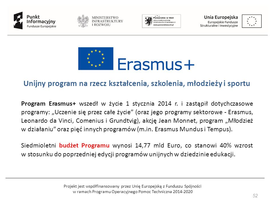 Projekt jest współfinansowany przez Unię Europejską z Funduszu Spójności w ramach Programu Operacyjnego Pomoc Techniczna 2014-2020 52 Unijny program na rzecz kształcenia, szkolenia, młodzieży i sportu Program Erasmus+ wszedł w życie 1 stycznia 2014 r.