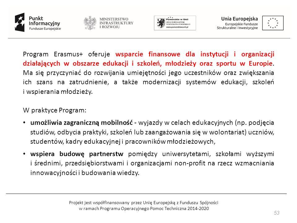 Projekt jest współfinansowany przez Unię Europejską z Funduszu Spójności w ramach Programu Operacyjnego Pomoc Techniczna 2014-2020 53 Program Erasmus+ oferuje wsparcie finansowe dla instytucji i organizacji działających w obszarze edukacji i szkoleń, młodzieży oraz sportu w Europie.