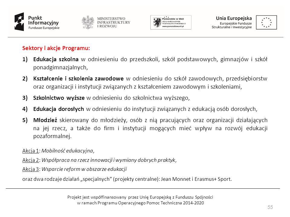Projekt jest współfinansowany przez Unię Europejską z Funduszu Spójności w ramach Programu Operacyjnego Pomoc Techniczna 2014-2020 55 Sektory i akcje Programu: 1)Edukacja szkolna w odniesieniu do przedszkoli, szkół podstawowych, gimnazjów i szkół ponadgimnazjalnych, 2)Kształcenie i szkolenia zawodowe w odniesieniu do szkół zawodowych, przedsiębiorstw oraz organizacji i instytucji związanych z kształceniem zawodowym i szkoleniami, 3)Szkolnictwo wyższe w odniesieniu do szkolnictwa wyższego, 4)Edukacja dorosłych w odniesieniu do instytucji związanych z edukacją osób dorosłych, 5)Młodzież skierowany do młodzieży, osób z nią pracujących oraz organizacji działających na jej rzecz, a także do firm i instytucji mogących mieć wpływ na rozwój edukacji pozaformalnej.