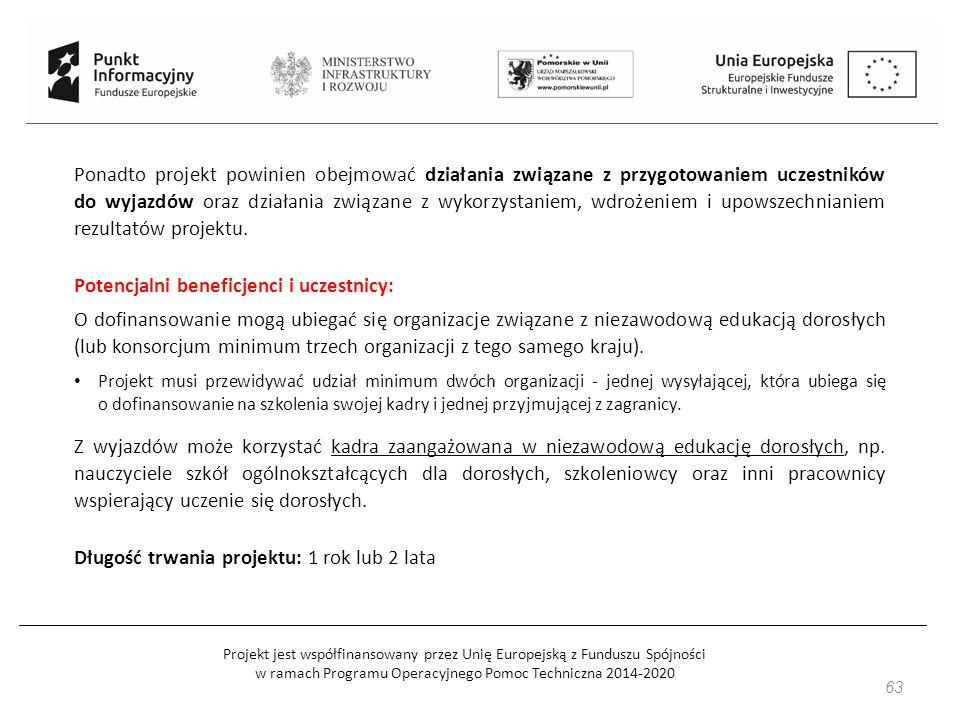 Projekt jest współfinansowany przez Unię Europejską z Funduszu Spójności w ramach Programu Operacyjnego Pomoc Techniczna 2014-2020 63 Ponadto projekt