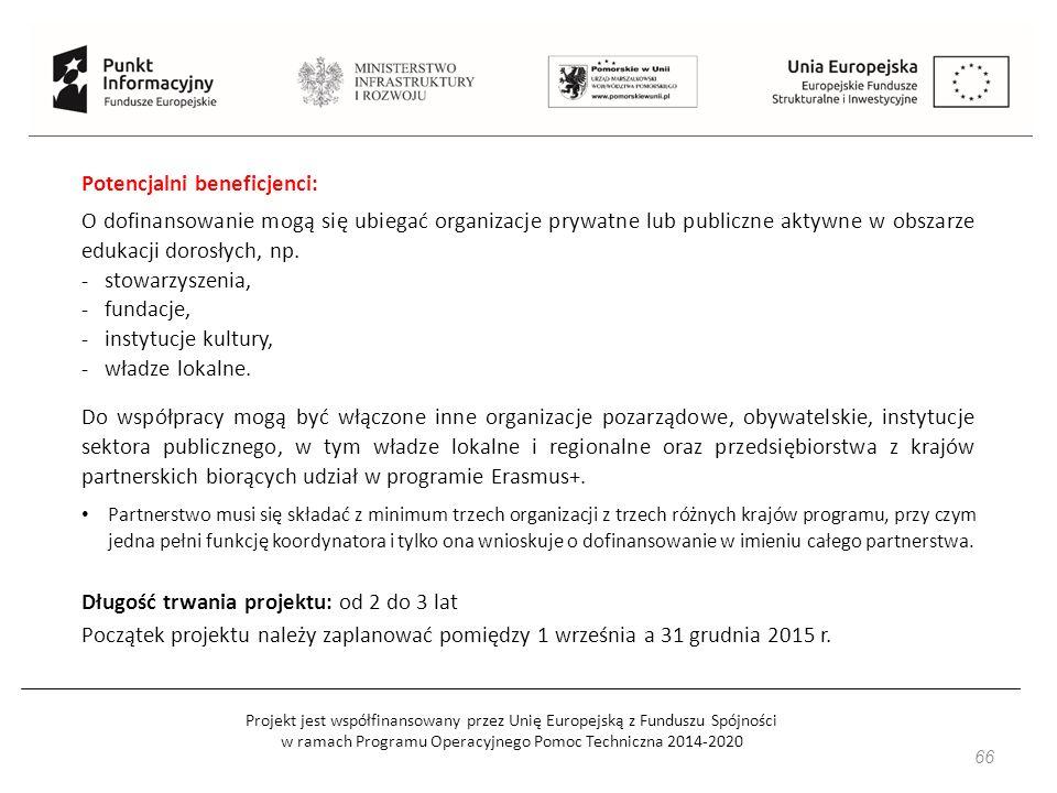 Projekt jest współfinansowany przez Unię Europejską z Funduszu Spójności w ramach Programu Operacyjnego Pomoc Techniczna 2014-2020 66 Potencjalni beneficjenci: O dofinansowanie mogą się ubiegać organizacje prywatne lub publiczne aktywne w obszarze edukacji dorosłych, np.