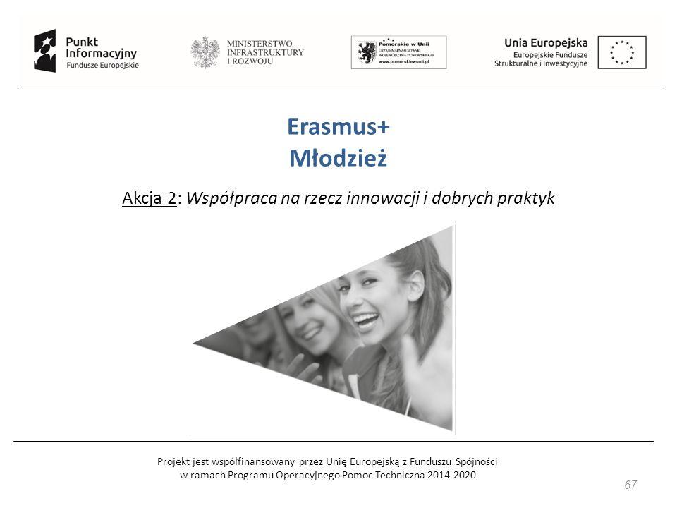 Projekt jest współfinansowany przez Unię Europejską z Funduszu Spójności w ramach Programu Operacyjnego Pomoc Techniczna 2014-2020 67 Erasmus+ Młodzież Akcja 2: Współpraca na rzecz innowacji i dobrych praktyk