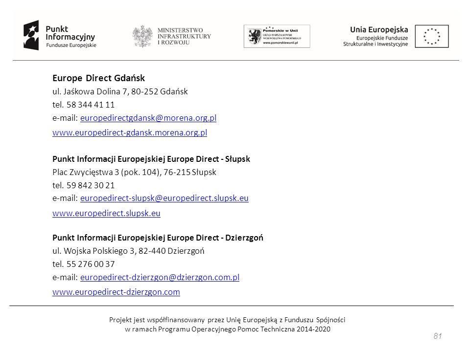 Projekt jest współfinansowany przez Unię Europejską z Funduszu Spójności w ramach Programu Operacyjnego Pomoc Techniczna 2014-2020 81 Europe Direct Gdańsk ul.