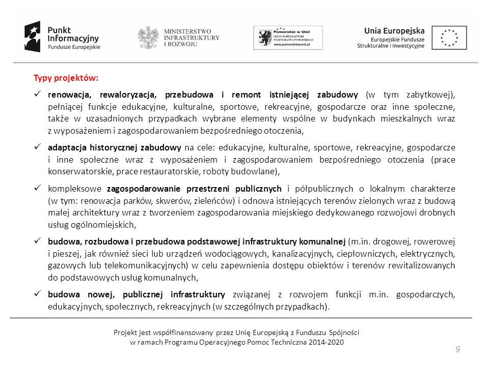 Projekt jest współfinansowany przez Unię Europejską z Funduszu Spójności w ramach Programu Operacyjnego Pomoc Techniczna 2014-2020 9 Typy projektów: renowacja, rewaloryzacja, przebudowa i remont istniejącej zabudowy (w tym zabytkowej), pełniącej funkcje edukacyjne, kulturalne, sportowe, rekreacyjne, gospodarcze oraz inne społeczne, także w uzasadnionych przypadkach wybrane elementy wspólne w budynkach mieszkalnych wraz z wyposażeniem i zagospodarowaniem bezpośredniego otoczenia, adaptacja historycznej zabudowy na cele: edukacyjne, kulturalne, sportowe, rekreacyjne, gospodarcze i inne społeczne wraz z wyposażeniem i zagospodarowaniem bezpośredniego otoczenia (prace konserwatorskie, prace restauratorskie, roboty budowlane), kompleksowe zagospodarowanie przestrzeni publicznych i półpublicznych o lokalnym charakterze (w tym: renowacja parków, skwerów, zieleńców) i odnowa istniejących terenów zielonych wraz z budową małej architektury wraz z tworzeniem zagospodarowania miejskiego dedykowanego rozwojowi drobnych usług ogólnomiejskich, budowa, rozbudowa i przebudowa podstawowej infrastruktury komunalnej (m.in.
