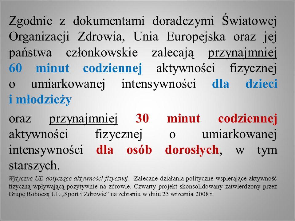 Zgodnie z dokumentami doradczymi Światowej Organizacji Zdrowia, Unia Europejska oraz jej państwa członkowskie zalecają przynajmniej 60 minut codzienne
