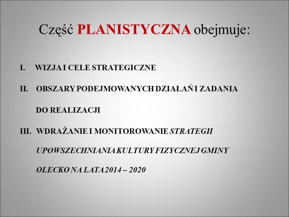 Część PLANISTYCZNA obejmuje: I. WIZJA I CELE STRATEGICZNE II.OBSZARY PODEJMOWANYCH DZIAŁAŃ I ZADANIA DO REALIZACJI III.WDRAŻANIE I MONITOROWANIE STRAT