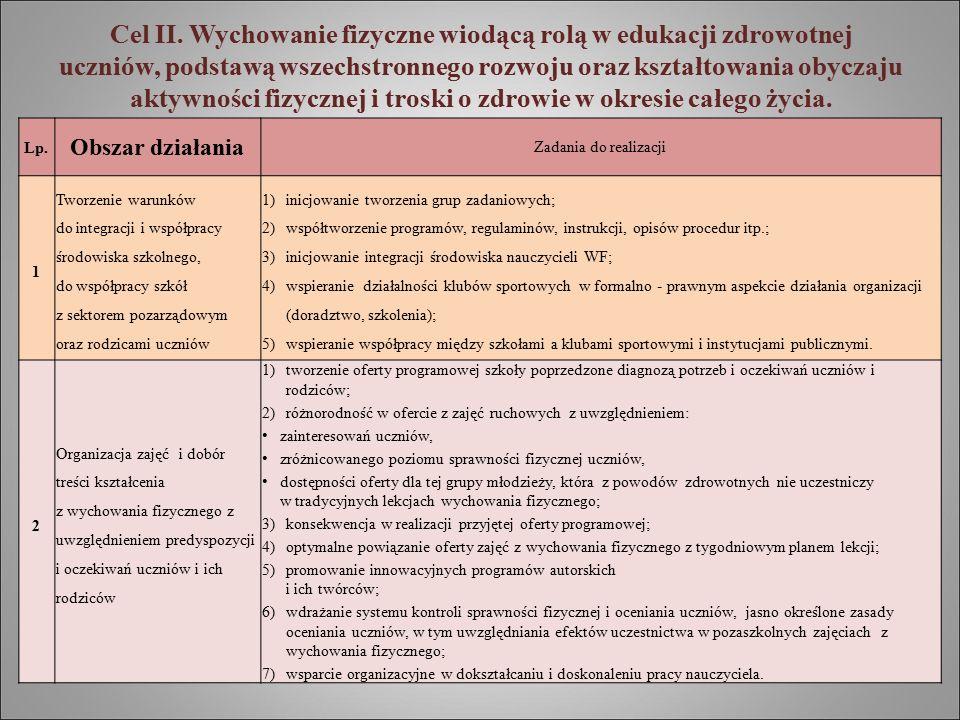 Cel II. Wychowanie fizyczne wiodącą rolą w edukacji zdrowotnej uczniów, podstawą wszechstronnego rozwoju oraz kształtowania obyczaju aktywności fizycz