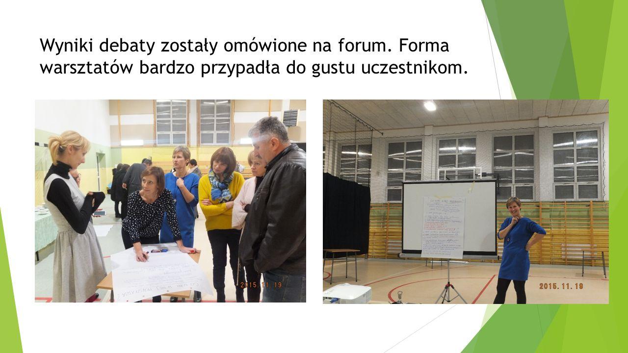 Wyniki debaty zostały omówione na forum. Forma warsztatów bardzo przypadła do gustu uczestnikom.
