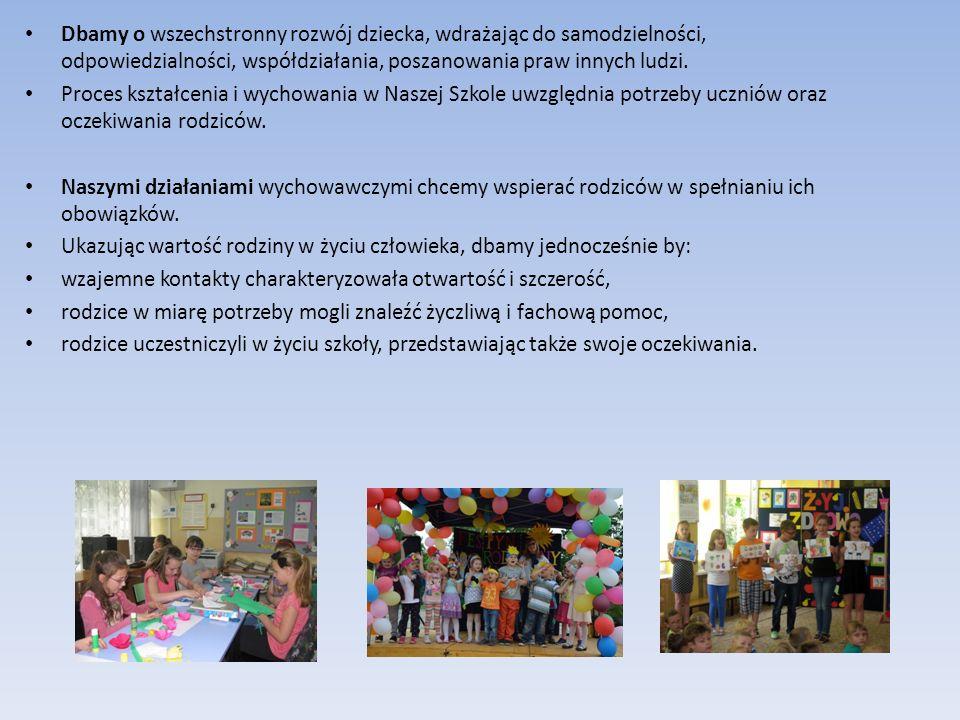 Dbamy o wszechstronny rozwój dziecka, wdrażając do samodzielności, odpowiedzialności, współdziałania, poszanowania praw innych ludzi. Proces kształcen