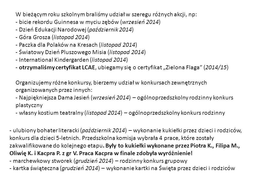 """W bieżącym roku szkolnym braliśmy udział w szeregu różnych akcji, np: - bicie rekordu Guinnesa w myciu zębów (wrzesień 2014) - Dzień Edukacji Narodowej (październik 2014) - Góra Grosza (listopad 2014) - Paczka dla Polaków na Kresach (listopad 2014) - Światowy Dzień Pluszowego Misia (listopad 2014) - International Kindergarden (listopad 2014) - otrzymaliśmy certyfikat LCAE, ubiegamy się o certyfikat """"Zielona Flaga (2014/15) Organizujemy różne konkursy, bierzemy udział w konkursach zewnętrznych organizowanych przez innych: - Najpiękniejsza Dama Jesień (wrzesień 2014) – ogólnoprzedszkolny rodzinny konkurs plastyczny - własny kostium teatralny (listopad 2014) – ogólnoprzedszkolny konkurs rodzinny - ulubiony bohater literacki (październik 2014) – wykonanie kukiełki przez dzieci i rodziców, konkurs dla dzieci 5-letnich."""