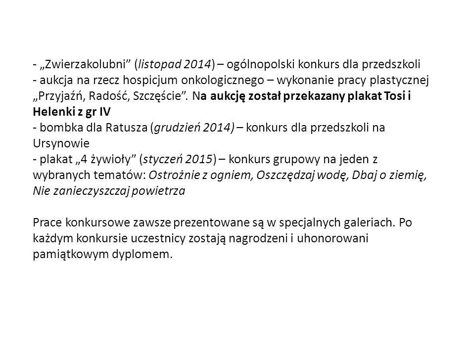 """- """"Zwierzakolubni (listopad 2014) – ogólnopolski konkurs dla przedszkoli - aukcja na rzecz hospicjum onkologicznego – wykonanie pracy plastycznej """"Przyjaźń, Radość, Szczęście ."""