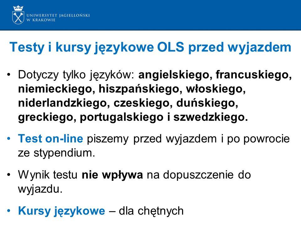 Testy i kursy językowe OLS przed wyjazdem Dotyczy tylko języków: angielskiego, francuskiego, niemieckiego, hiszpańskiego, włoskiego, niderlandzkiego, czeskiego, duńskiego, greckiego, portugalskiego i szwedzkiego.