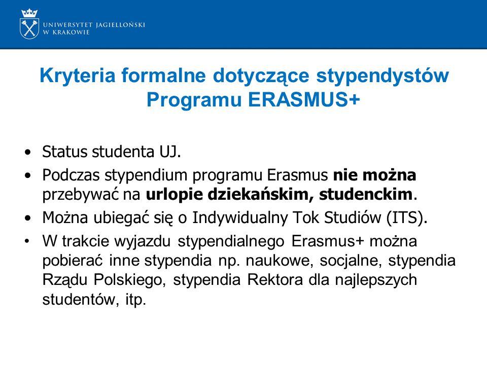 Kryteria formalne dotyczące stypendystów Programu ERASMUS+ Status studenta UJ.