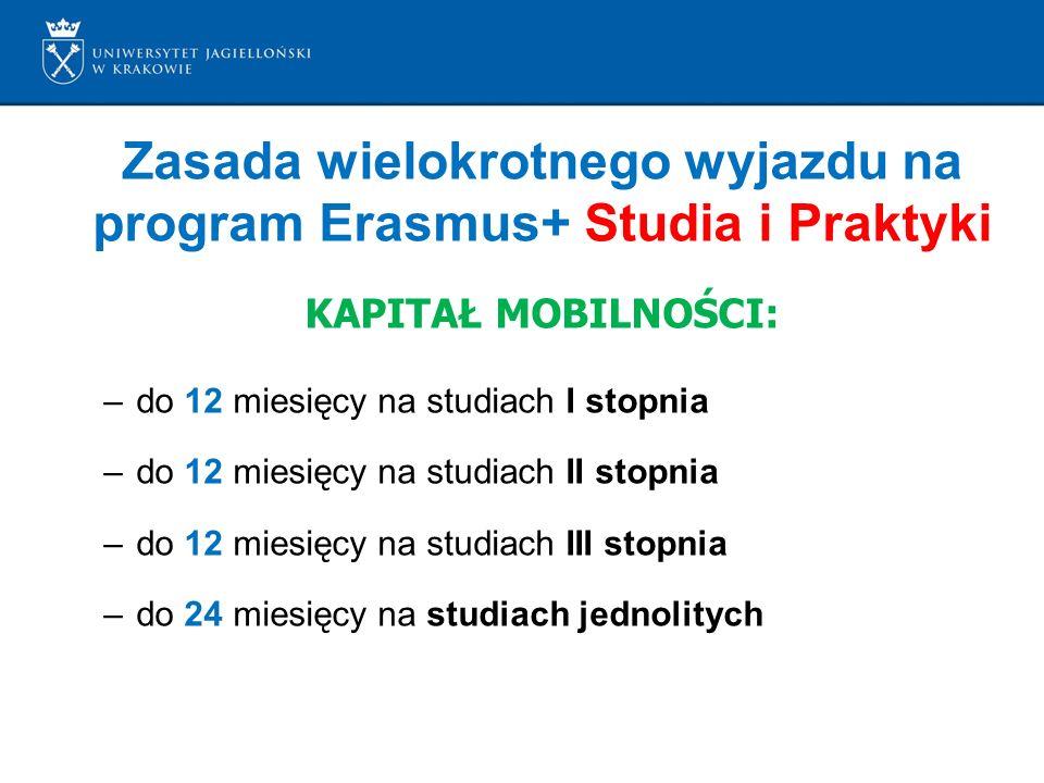 Zasada wielokrotnego wyjazdu na program Erasmus+ Studia i Praktyki KAPITAŁ MOBILNOŚCI: –do 12 miesięcy na studiach I stopnia –do 12 miesięcy na studiach II stopnia –do 12 miesięcy na studiach III stopnia –do 24 miesięcy na studiach jednolitych