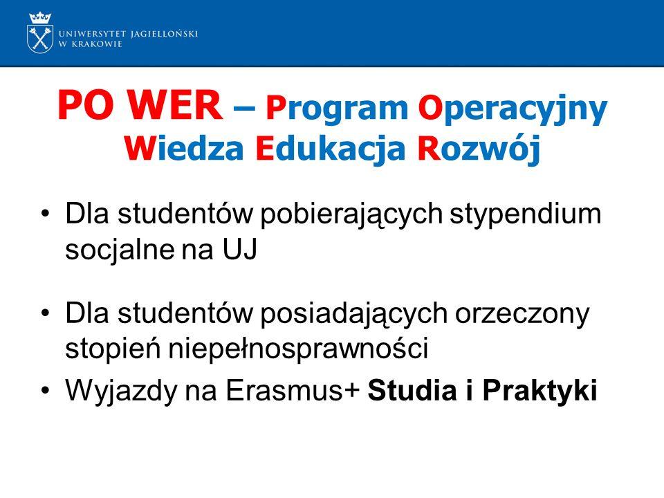PO WER – Program Operacyjny Wiedza Edukacja Rozwój Dla studentów pobierających stypendium socjalne na UJ Dla studentów posiadających orzeczony stopień niepełnosprawności Wyjazdy na Erasmus+ Studia i Praktyki