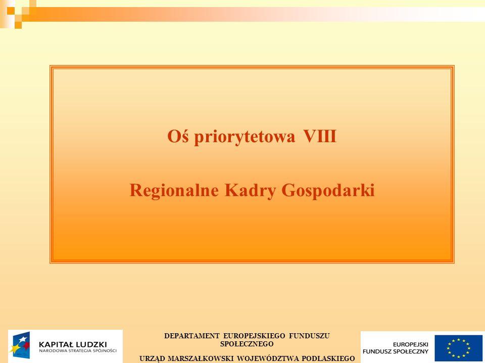 23 Oś priorytetowa VIII Regionalne Kadry Gospodarki DEPARTAMENT EUROPEJSKIEGO FUNDUSZU SPOŁECZNEGO URZĄD MARSZAŁKOWSKI WOJEWÓDZTWA PODLASKIEGO