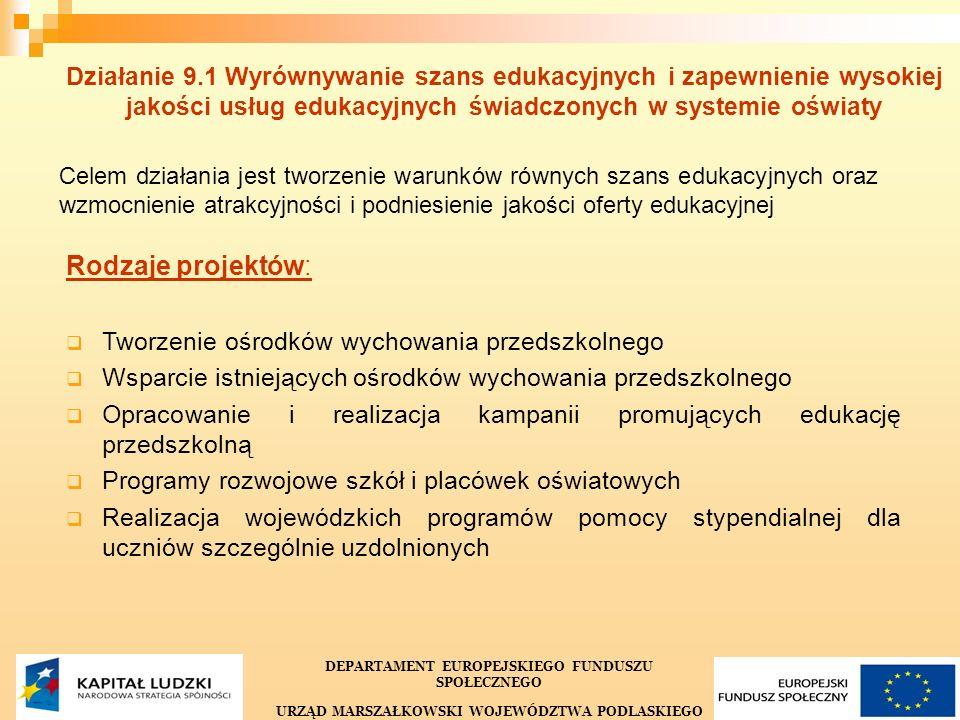 32 Działanie 9.1 Wyrównywanie szans edukacyjnych i zapewnienie wysokiej jakości usług edukacyjnych świadczonych w systemie oświaty Celem działania jes