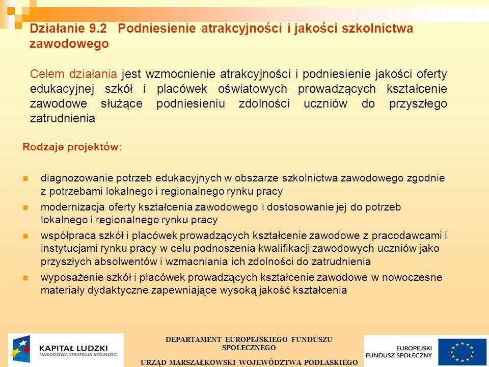 33 Działanie 9.2 Podniesienie atrakcyjności i jakości szkolnictwa zawodowego Celem działania jest wzmocnienie atrakcyjności i podniesienie jakości ofe