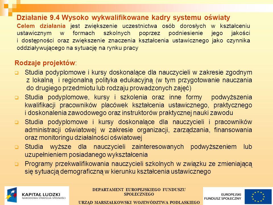 35 Działanie 9.4 Wysoko wykwalifikowane kadry systemu oświaty Celem działania jest zwiększenie uczestnictwa osób dorosłych w kształceniu ustawicznym w