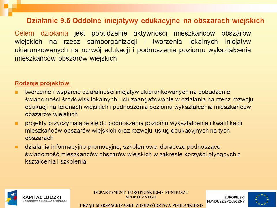 36 Działanie 9.5 Oddolne inicjatywy edukacyjne na obszarach wiejskich Celem działania jest pobudzenie aktywności mieszkańców obszarów wiejskich na rze